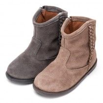 Botines Niña Serraje trenza lateral #botas #boots #bottes
