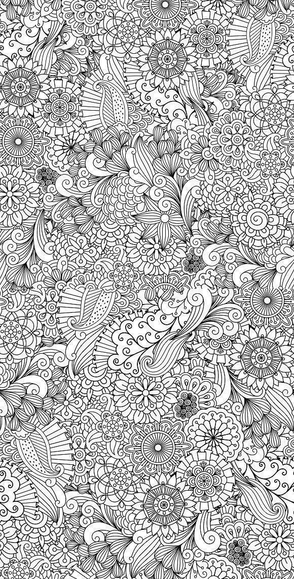 Seamless Zentangle Like Patterns Mandala Coloring Pages Coloring Pages Animal Coloring Pages