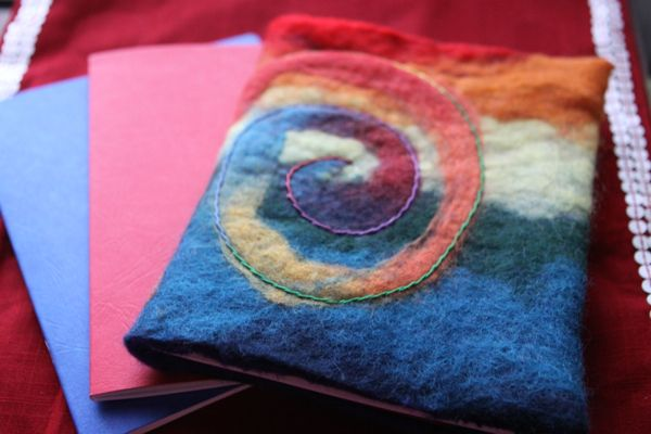 handmade gifts felted book cover rainbow finish waldorf inspired moms