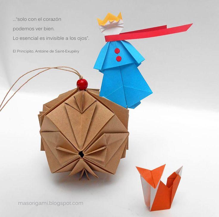 .El principito, versión origami. Autor: Shoko Aoyagi. La figura del zorro es una creación de Mark Leonard y el kusudama es de Tomoko Fuse.