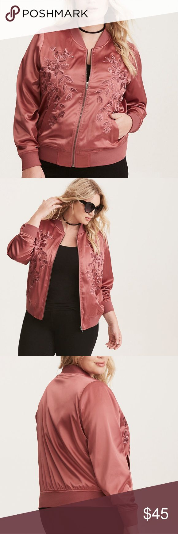 "Torrid Embroidered Satin Bomber Jacket ""A sporty classic gets an ""I feel pretty"" upgrade. Rosy mauve satin is a feminine twist on the tomboy bomber, with gorgeous rose embroidery highlighting the front of the jacket. Ribbed trim and a zip front lend definition to the look. Approx measures 27"" from shoulder. Polyester/spandex."" New with tags, size 3X. torrid Jackets & Coats"