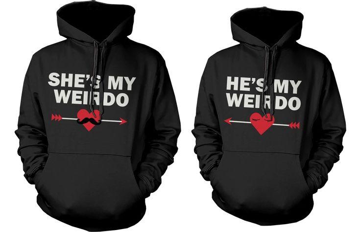 Amazon.com: Matching Couple Hoodies - She's My Weirdo & He's My Weirdo- Couple Sweatshirts: Clothing