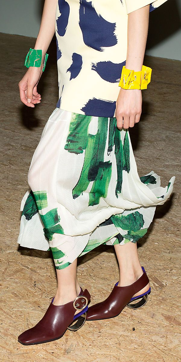 CÉLINE | Summer 2014 Ready to wear collection paint print  green and blue pop bright colour layering fashion design