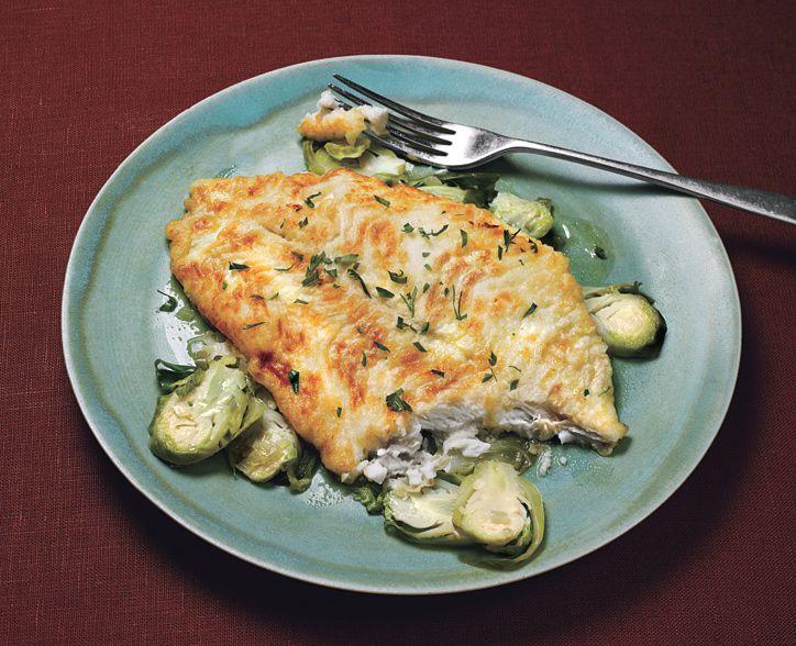 Petrale Sole with Lemon-Shallot Brussels Sprouts - Bon Appétit (Use almond flour!)