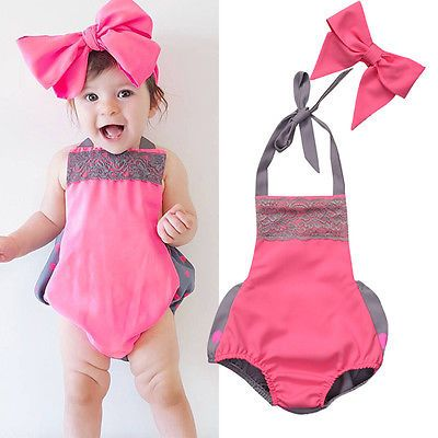 >> Click to Buy << 2Pcs Newborn Infant Baby Girls Clothes Lace Sleeveless Halter Backless Romper Jumpsuit Bowknot Handband Summer Clothes Outfits #Affiliate