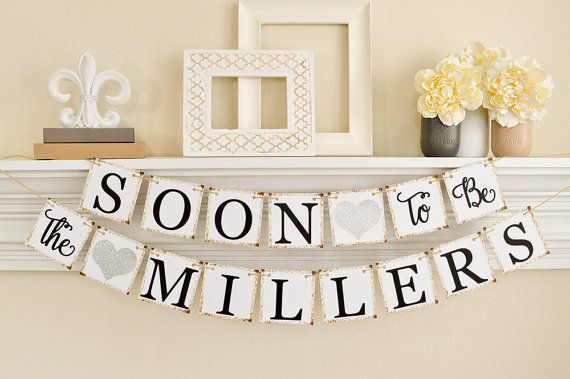 Engagement Announcement, Engagement Photo Prop, Soon to Be Banner, Engagement Shoot Props, Engagement Party Silver Glitter Decor, B203
