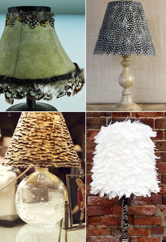 Cool lampshade ideas - feathers? Click on the link for more ideas!