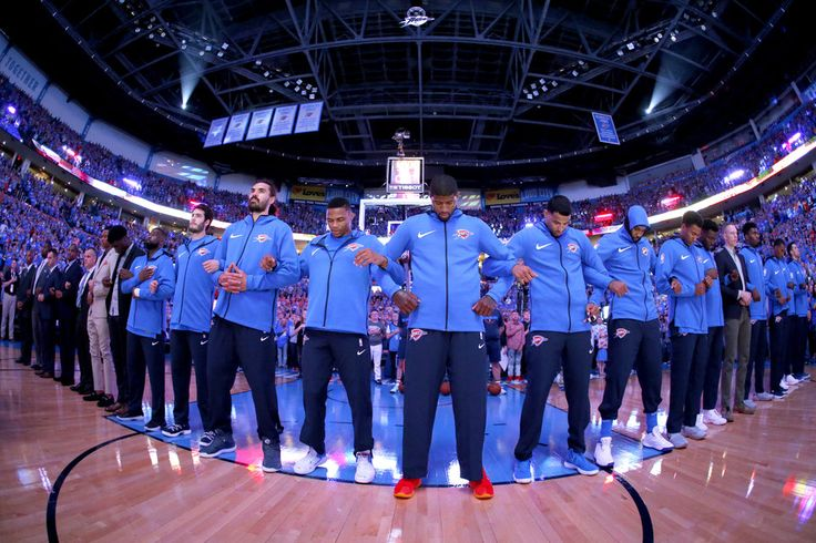 The Thunder stand during the national anthem before an NBA basketball game between the Oklahoma City Thunder and the New York Knicks at Chesapeake Energy Arena in Oklahoma City, Thursday, Oct. 19, 2017. Photo by Bryan Terry, The Oklahoman