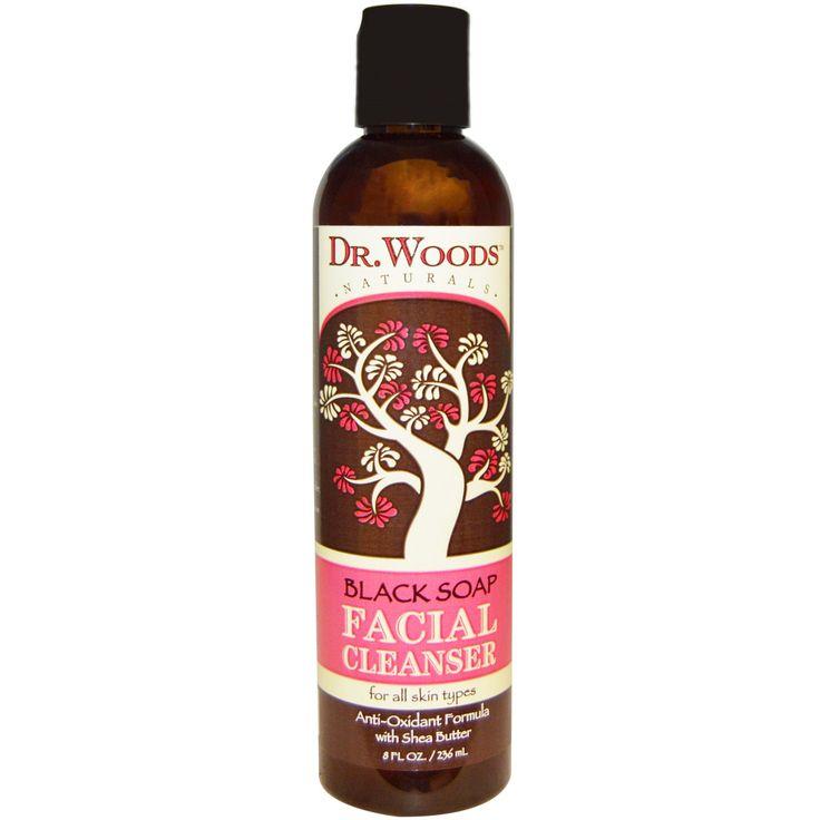 Dr. Woods, Очищающее средство для лица, черное мыло, 8 жидких унций (236 мл)