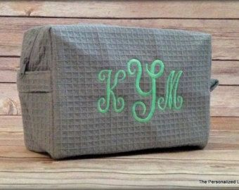 Monograma bolso cosmético - personalizado 3 carta monograma maquillaje bolsa de Dama de honor boda regalo