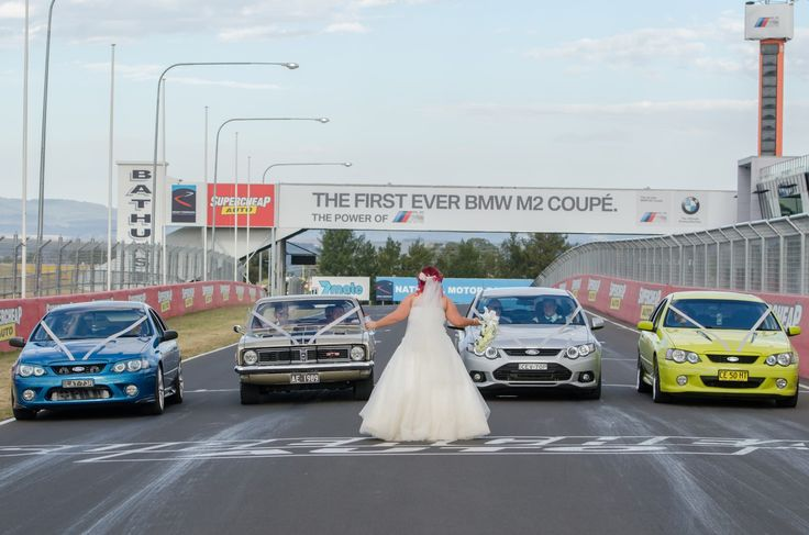 Wedding Photographer - Candid Photos of a Lifetime  The Bride, the wedding cars, and the race track