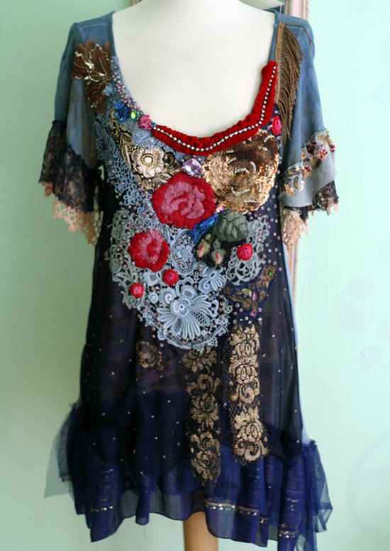 Bolereo, bohemian romantic tunic, lagenlook, hand beaded and embroidered altered with antique laces, vintage trims