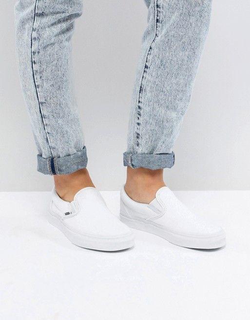 vans classic slip on white