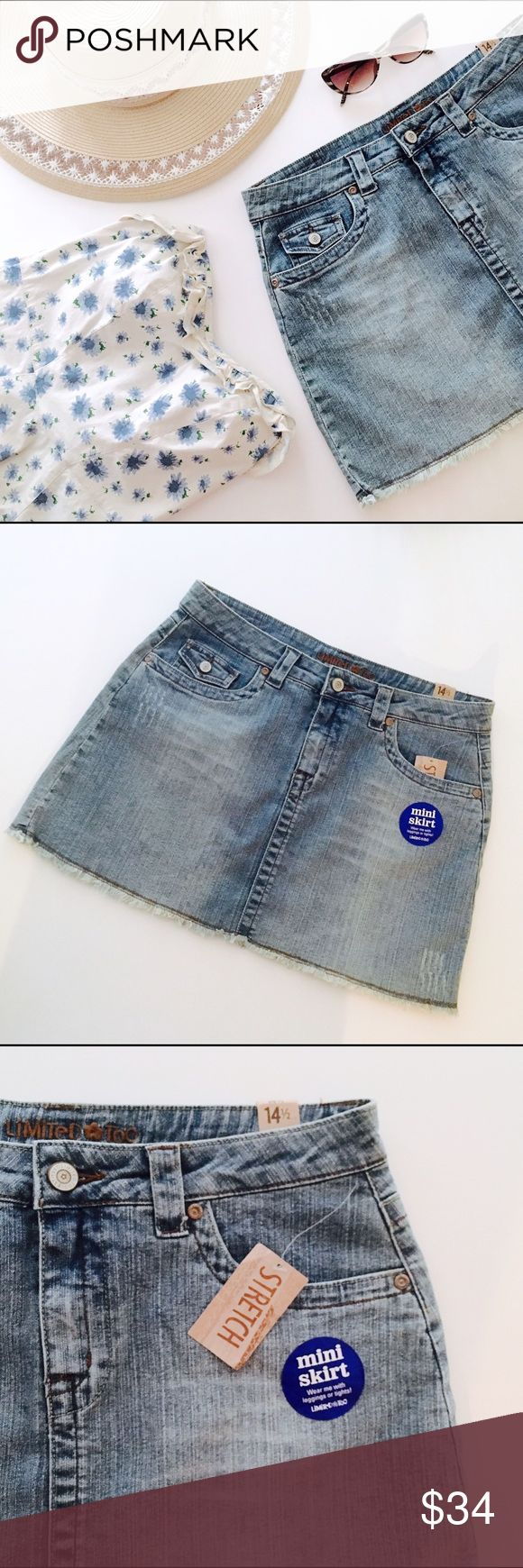 """🍍Frayed Denim Mini Skirt Sky blue vintage wash denim mini skirt. Slight distressing, camel colored stitching and frayed hem. Flap pockets, belt loops, button & zip-closure. Provides stretch • Girls' size 14.5, fits more like a size 16. Could also fit juniors' size 3.  Wear with: Halter top, sun hat and ghillie sandals for off-duty bathing beauty glamor🍍  - 30"""" waist - 5.5"""" x 6"""" pockets - 14"""" length total  *Label is Limited Too (remember them?) Listed as Gap for exposure. GAP Bottoms Skirts"""