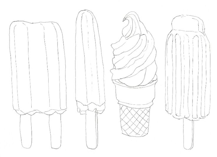 This is what the ice-cream painting looked like before the paint
