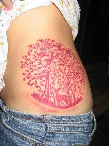 I adore this...: Tattoo Ideas, Color, Deer Tattoo, Tattoos, Body Art, Tattoo'S, Red Ink, Pink Tattoo