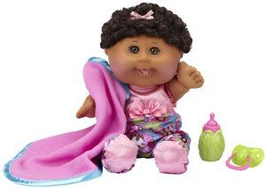 "Cabbage Patch Babies Doll - African American Girl, Black by Cabbage Patch Kids. $29.99. Comes with birth certificate and adoption papers. 12.5"" Baby in removeable fashion, playable hairdo, special cabbage leaf shaped bottle and pacifier and matching blanket. Ages 2 years and up. From the Manufacturer Cabbage Patch Babies are back and the same as you remember them – adorable, soft, loveable and ready to be adopted and cared for. Each Cabbage Patch Baby com..."