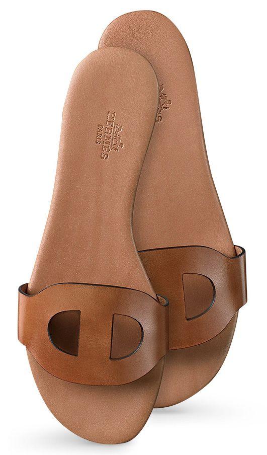 "Hermes - Lisboa natural calfskin sandals. ""Repinned by Keva xo""."