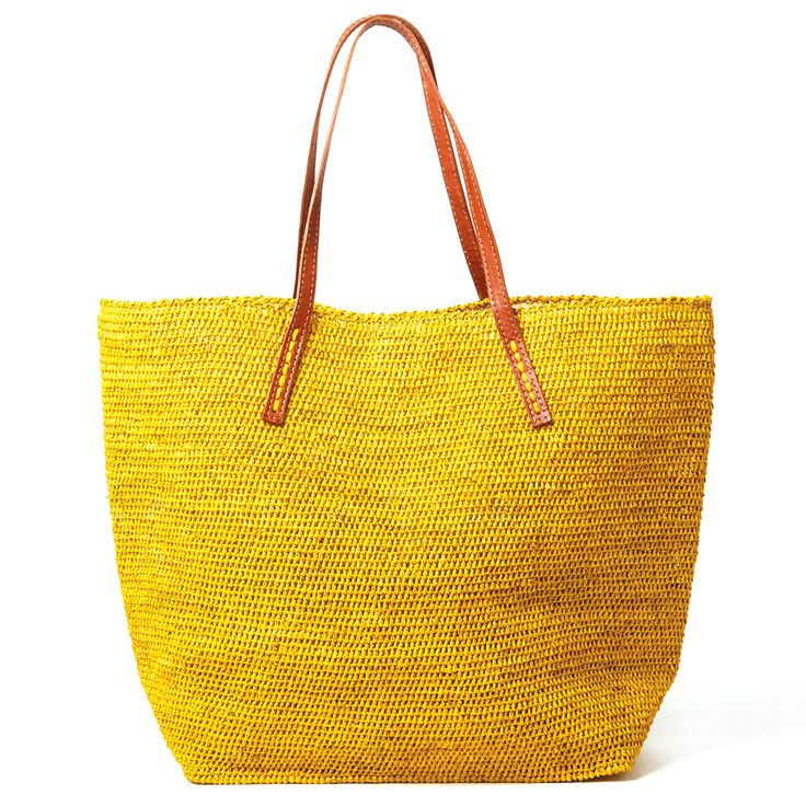 Mar Y Sol Portland Everyday Raffia Tote in Sunflower