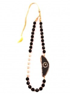 Black Crystal and White Pearl Pacchi Work Necklace with Stone - Buy Black Crystal and White Pearl Pacchi Work Necklace with Stone Online