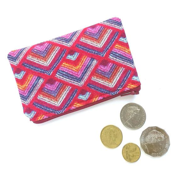 Coin Purse // Lipstick Holder // Earbud Pouch // Small Zipper Pouch - Red Aztec