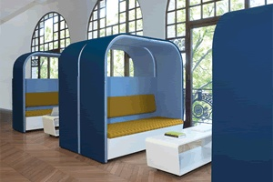 break-out space. Could make benches double as phone booths with thick (sound absorbant) curtains/screens/dividers.