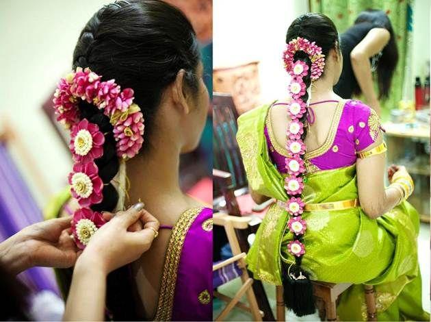 South Indian bride. Temple jewelry.green and purple silk kanchipuram sari.Braid with fresh flowers. Tamil bride. Telugu bride. Kannada bride. Hindu bride. Malayalee bride.