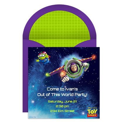 Blast off for a free online party invitation that takes guests to infinity and beyond!