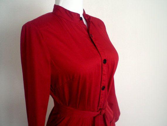 Dark Red Women's Shirtdress; Shirt Dress; Button Front Dress