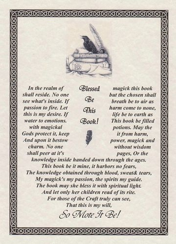 Book Blessing BOS Book of Shadows Page Wiccan Witchcraft Charm Spell Magick CHC | eBay