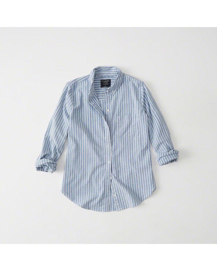 A&F Women's Oxford Shirt in Blue - Size XL