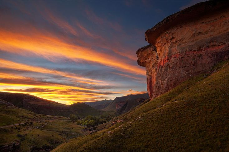 Golden Gate Highlands National Park, Free State  The skies of the Free State in flaming sunset colours over the Van Reenen campsite in Golden Gate Highlands National Park.  Photo by: Hougaard Malan.