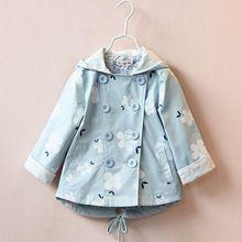 ХАЛОН весна осень Осень корейский детская одежда девочек хлопка высокого качества с капюшоном ветровка куртка пальто цветы 2-7Y(China (Mainland))
