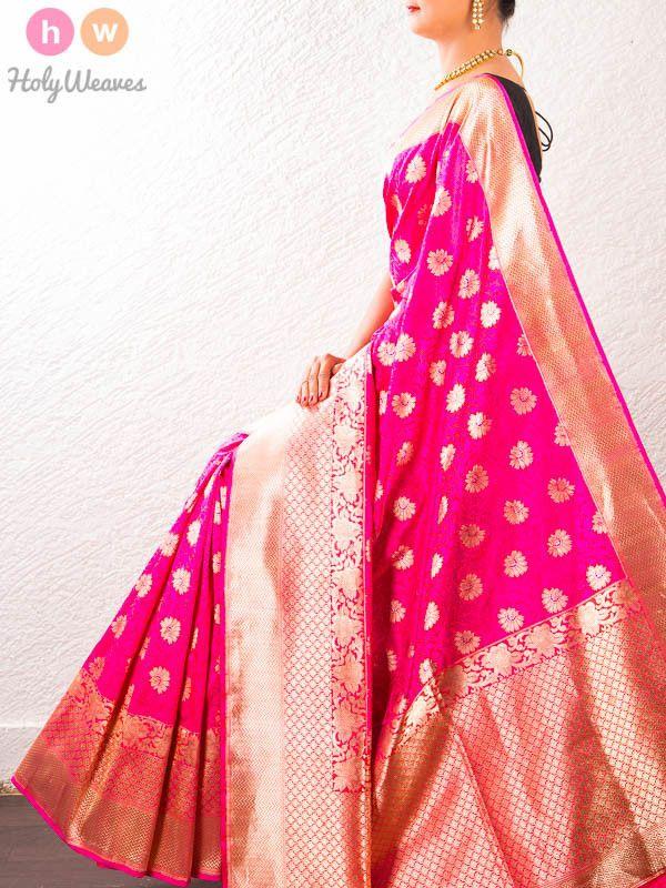 #Pink #Handwoven #Katan #Silk #Cutwork #Brocade #Saree #HolyWeaves