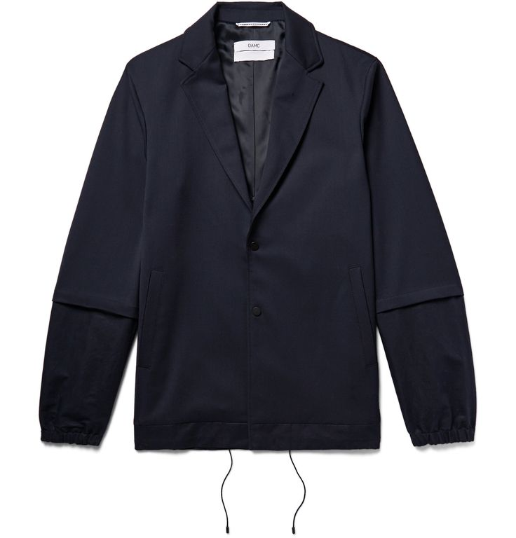 This blazer-bomber hybrid jacket demonstrates <a href='http://www.mrporter.com/mens/Designers/Oamc'>OAMC</a>'s aptitude for reconfigured tailoring. Made from midnight-blue stretch-twill, it's panelled with cotton and linen-blend at the sleeves and fully lined for a smooth fit. The notch lapels and felted undercollar nod to more formal styles, while elasticated cuffs and a drawstring hem feel sporty.
