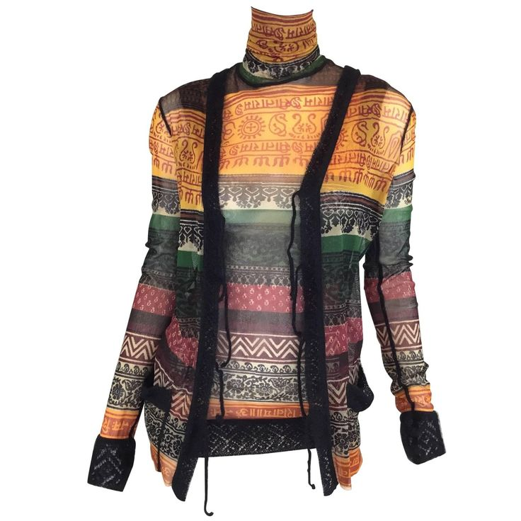 Jean Paul Gaultier Classique Fuzzi Stocking Knit Top and Cardigan Set | From a collection of rare vintage sweaters at https://www.1stdibs.com/fashion/clothing/sweaters/
