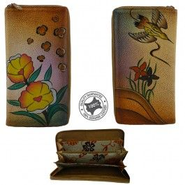 New Hand Painted Genuine Leather Ladies Womens Long Zip Wallet Purse