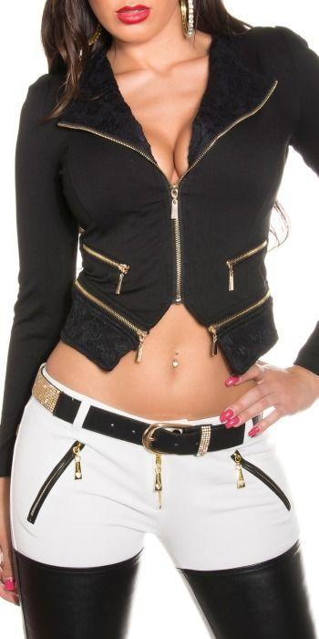 Dámský kabátek – sako, Velikost 40/L, Barva černá Dámský kabátek či sako v černém provedení. Příjemný hladký materiál. Kabátek je zdoben zipy ve zlatém provedení a spodní lem a klopy jsou zdobeny krajkou. Propínání na …