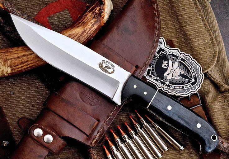 CFK USA Custom Handmade D2 Tool Blue Bone Micarta Large Hunter Skinning Knife