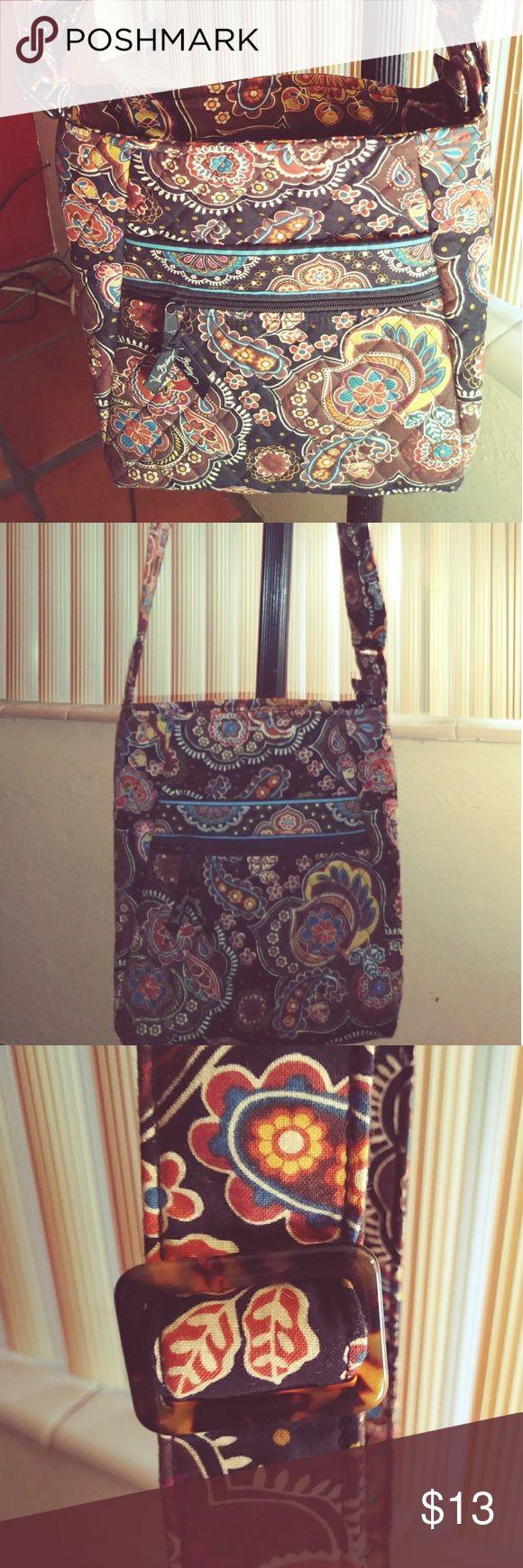 Vera Bradley Crossbody Purse Bag Browns, teal, black floral paisley. Like new, clean, never used. Vera Bradley Bags Crossbody Bags