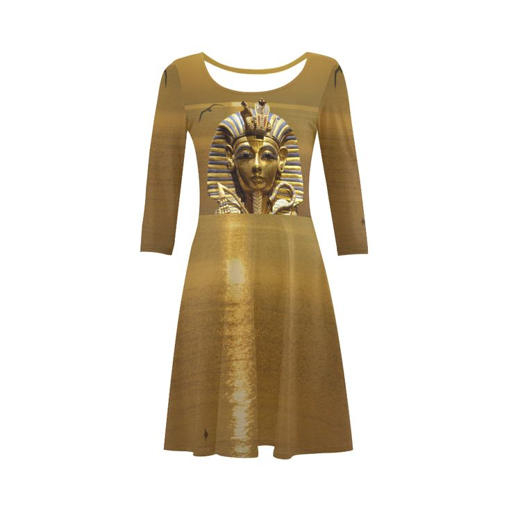 Egypt King Tut 3/4 Sleeve Sundress. Material: 92% Polyester, 8% Spandex, well made lightweight soft fabric, skin-friendly. Sizes: XS, S, M, L, XL, XXL, XXXL.FREE Shipping. #beoriginalstore #dresses