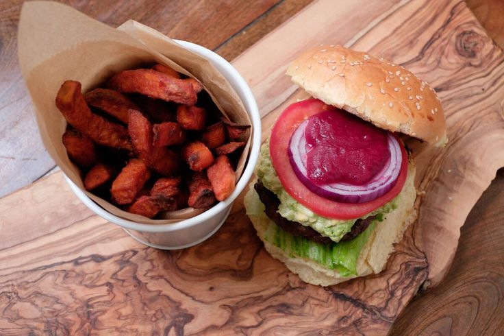 The Foraging Fox Beetroot Ketchup in a burger with a goats cheese & avocado smash, served with sweet potato fries. Awesome.