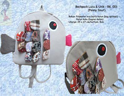 Backpack Lucu Unik - RK. 002    Backpack gambar ikan (Penny Imut)....  ukuran: 25 x 27 cm/bottom 7cm