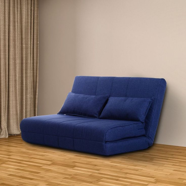 Blue Sofa Bed Futon Couch Sleeper Adjustable 2 Seater