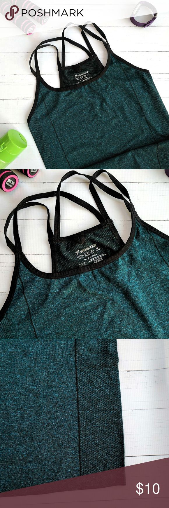 Primark Workout Tank / Hunter Green NWOT Primark Workout Tank  Beautiful Hunter Green and black Size Small Criss cross straps in back / dotted detail along sides and on backside NWOT Primark Tops Tank Tops
