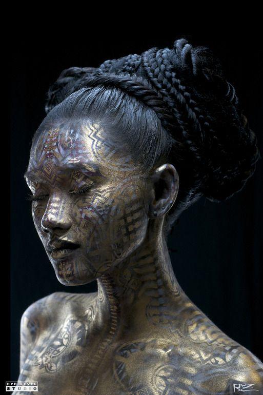 "Michael Rosner ""Goddess Mahina III"" Body Painting, Street Art"