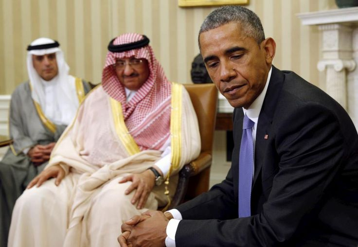 President Obama meets with Saudi Crown Prince Mohammed bin Nayef (C) in the Oval Office of the White House in Washington May 13, 2015. At left is Saudi Foreign Minister Adel Al Jubeir . REUTERS/Kevin Lamarque