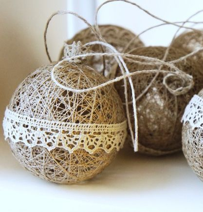 I hope I can find the other great idea I saw of the reject store balls with lights in them : : love this version with lace ribbon
