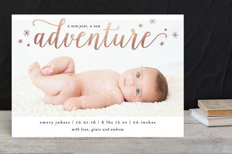 A New Adventure Holiday Birth Announcements by Kelly Schmidt at minted.com