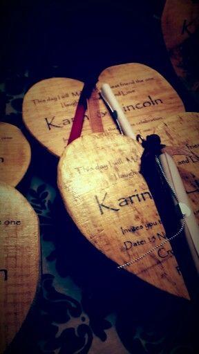 Wedding invites on wooden heart